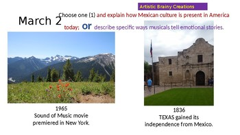 Writing Prompt Power point with HISTORY