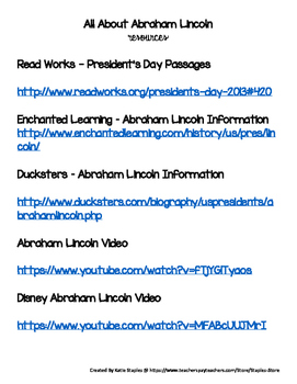 Writing Prompt - President's Day Expository Essay Prompt on Abraham Lincoln