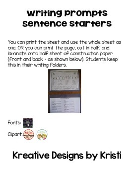 Writing Prompt Sentence Starter