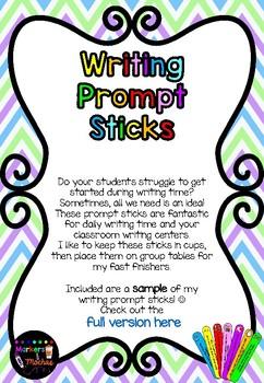 Writing Prompt Sticks ~ FREEBIE
