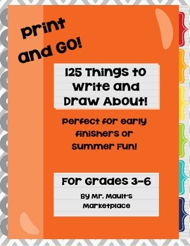 Writing Prompt Student Workbook- 125 Engaging Writing Prompts for Grades 3-6