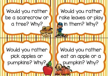 Writing Prompt Task Cards- Autumn/Fall Theme