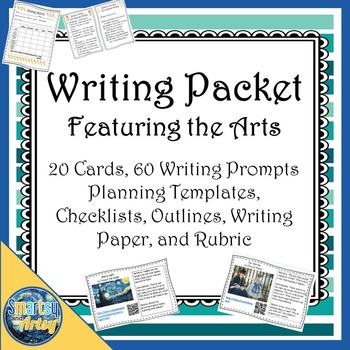 Writing Packet Featuring the Arts with Prompt Cards Outlines Checklists and More