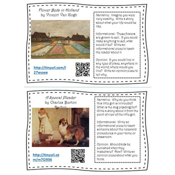 Writing Prompt Task Cards Featuring the Arts
