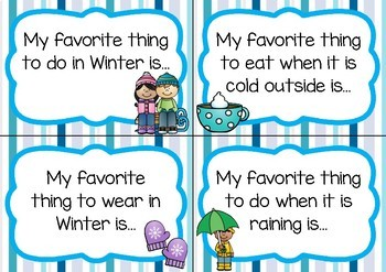 Writing Prompt Task Cards- Winter Theme