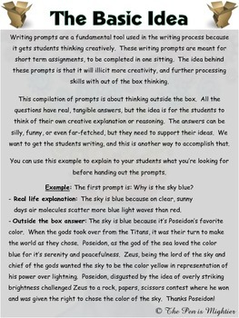 Writing Prompt: Think Outside the Box Prompts (Pack of 10)