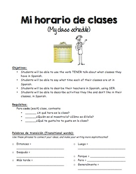 Spanish Writing Activity and Rubric - Mi horario de clases - Class Schedule