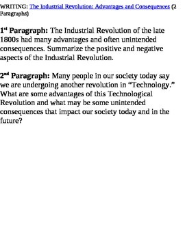 Writing Prompt on the Industrial Revolution