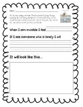 "Empathy Lesson: ""The Invisible Boy"" Writing Prompt"