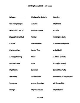 Writing Prompts: 100 Topics and Titles for Writing, Speaking, or Journaling