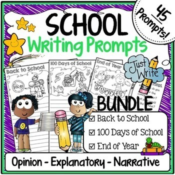 Writing Prompts for Back to School, 100th Day of School & End of the Year