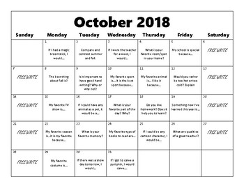 Writing Prompt Calendar 2018-2019