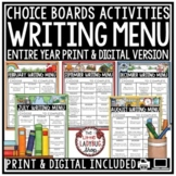 Writing Choice Boards - Entire Year- Writing Prompts 3rd Grade, 4th Grade, 5th