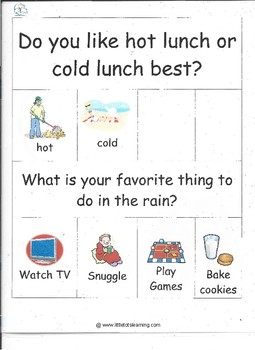 Special Education Visual Daily Questions for Autism Classrooms