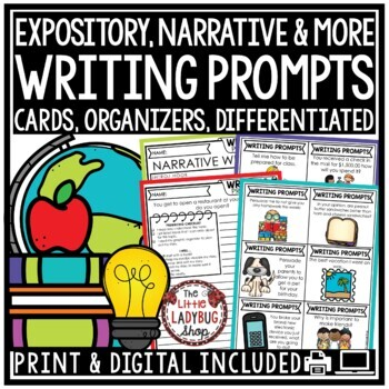 Writing Prompts 4th Grade, 3rd Grade, 2nd Grade- Writing Centers Entire Year