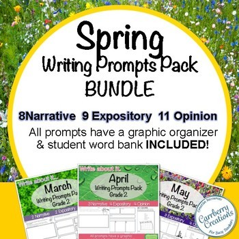 Writing Prompts for Second Graders Spring Themes BUNDLE