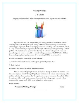 Writing Prompts 3rd through 5th Grade