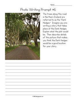 Photo Writing Prompts: 5 Pictures with Language Arts Prompts