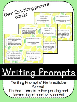 Writing Prompts Activity Cards!