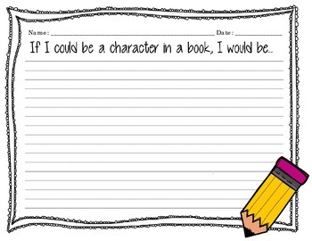 """Writing Prompts """"All About Writing and Books"""" Yellow Pencil Version"""