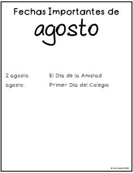 Spanish Writing Prompts August
