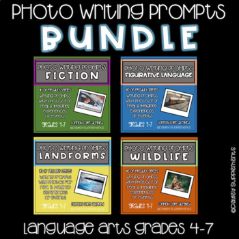 Writing Prompts with Photo BUNDLE - Grade 4-7 - 40 prompts for LA - Science