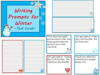 Writing Prompts Bundle Task Cards for Fall Winter & Spring Common Core Practice
