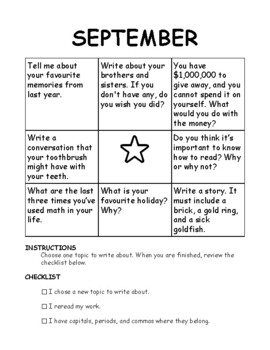 Writing Prompts Choice Boards - FULL YEAR- Homework, Fast Finishers, Bell Work