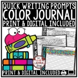 Coloring Journal Writing Prompts - 3rd Grade, 4th Grade Back to School Writing