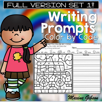 Writing Prompts Color by Code Set 1