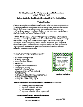 Creative Writing Prompts | MONTHLY | January | February | March | Gr 4-5-6