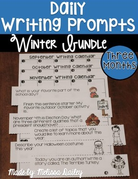 Writing Prompts Winter Bundle {December, January, February}