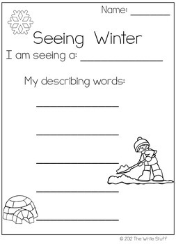 Winter Writing Prompts Using the 5 Senses