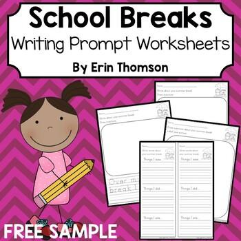Writing Prompt Worksheets ~ School Breaks