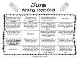 Writing Prompts Grid Sheet-JUNE