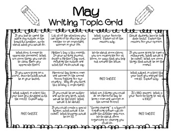 Writing Prompts Grid Sheet--MAY