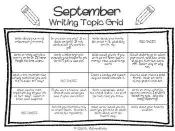 Writing Prompts Grid Sheet--SEPTEMBER