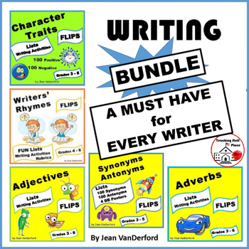 BUNDLE for WRITERS | LISTS | Interactive VOCABULARY REFERENCE | Gr. 3,4,5,6 FUN