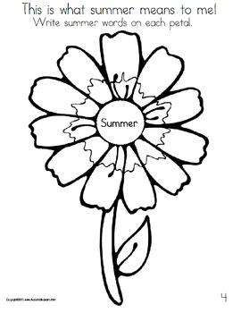 Writing Prompts Journal Kindergarten to First Grade Summer Activity