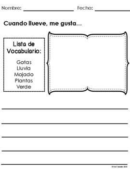 Writing Prompts March (Spanish Version) Elementary