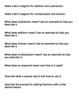 Writing Prompts- Middle School Math