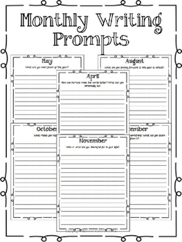 Writing Prompts - Monthly Writing Journal