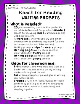 Writing Prompts-National Geographic Reach for Reading Un 6 Gr 2: Better Together