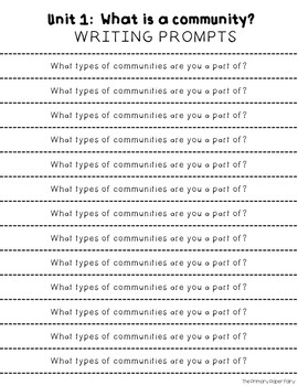 Writing Prompts- National Geographic Reach for Reading Unit 1 Grade 2: Community