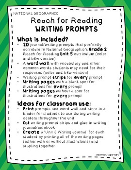 Writing Prompts-National Geographic Reach for Reading Unit 5 Grade 2: Changes