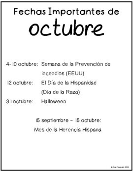 Spanish Writing Prompts October