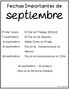 Spanish Writing Prompts September