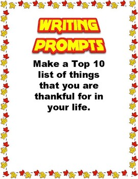 Writing Prompts: Thanksgiving Edition