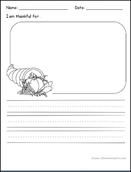 Writing Prompts - Thanksgiving (Kindergarten, 1st Grade)