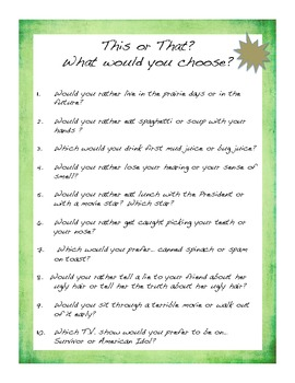 Writing Prompts - This or That? - Elem/Middle  50 questions